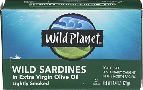 Wild Planet Wild Sockeye Salmon, Skinless & Boneless, 6 Ounce, Pack of 12 & Wild Sardines in Extra Virgin Olive Oil, Lightly Smoked, Keto and Paleo, 4.4 Ounce, Pack of 12 7