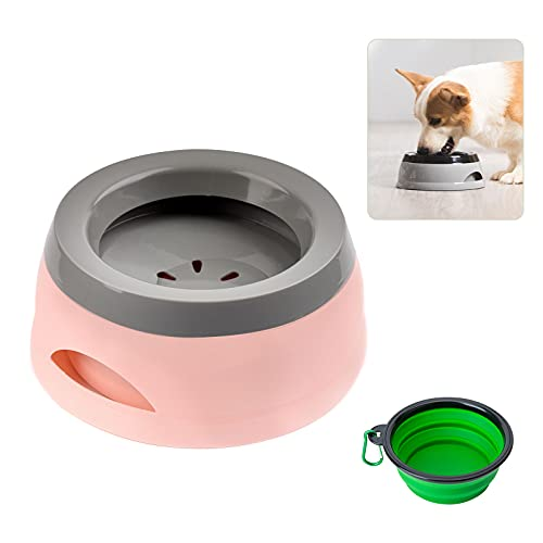 Wassernapf Hund Unterwegs, 750ml Auslaufsicher Spritzschutz praktischer Reisenapf für Hunde Katze und Zusammenklappbare Schüssel mit Karabinern, Haustierwasserschale für Auto (Pink)