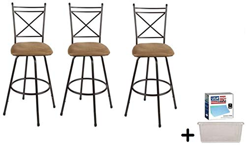 Generic- 3-Piece Avery Ajustable Height Barstool (Antique Brass)