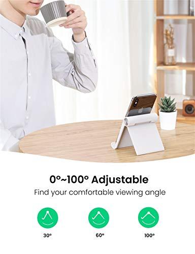 UGREEN Ständer Tablet Halterung Halter Tablet Ständer Tisch Handy Halter kompatibel mit iPad Air 3, iPad Pro, iPad Mini, MediaPad, Surface Pro 7, Galaxy Tab, iPhone 11 usw. bis 12 Zoll (Weiß)
