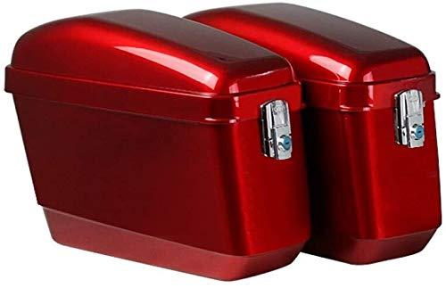 Motocicleta de una silla caja, caja de gran capacidad laterales de ABS a prueba de agua ya prueba de golpes sin soporte de almacenamiento de herramientas Maleta, Color: Rojo Prohibido fumar tronco por