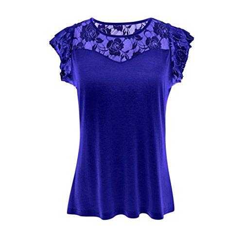Toamen T-shirt Femmes, Couture de dentelle Manche courte Chemisier Lace Tops Couleur unie Patchwork Décontractée (L, Bleu)