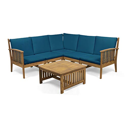 Maud Outdoor 5 Seater Acacia Wood Sofa Sectional Set, Brown and Dark Teal