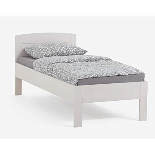 DICO Massivholz Komfortbett Seniorenbett Pepe, Buche weiß lackiert Größe 100x200 cm