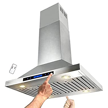 AKDY 30  Stainless Steel Island Mount Dual LED Touch Control Panel Kitchen Range Hood w/ Remote AZ-B02-IS-75