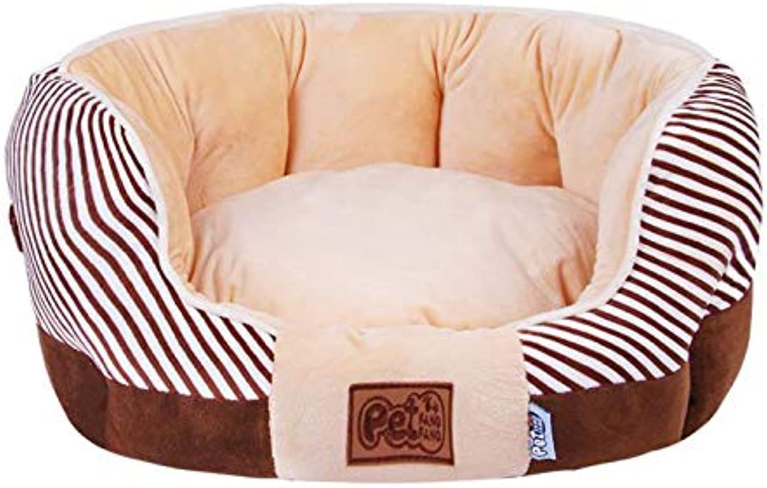 Round Warm Pet Bed High Elastic PP Cotton Pet Cat Dog Sofa Multiple Sizes Ideal for Small Large Cat Dog,M