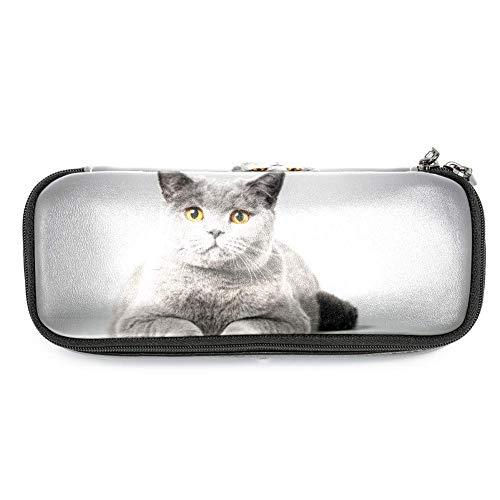 TIZORAX - Estuche para lápices, diseño de gato tumbado en la mesa, estuche de maquillaje, estudiantes, papelería y bolígrafos, para la escuela, oficina