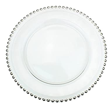 Clear Glass Charger 12.6 Inch Dinner Plate With Beaded Rim - Set of 4 - Silver