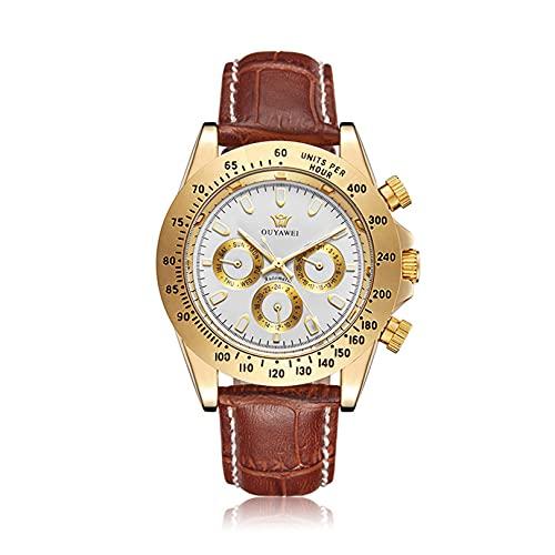 Excellent Reloj mecánico de Hombres Multifunción Multifunción Business Casual Mecánico Mecánico Watch Week Time Calendar Dial Pantalla,C01