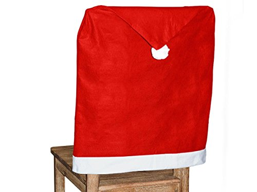 Alsino Set di 6 Coprisedie Natalizi a Forma di Cappello da Babbo Natale (wh-69) Rosso con PON PON e Bordo Bianco 62 x 50 cm Decorazione Festa Vigilia