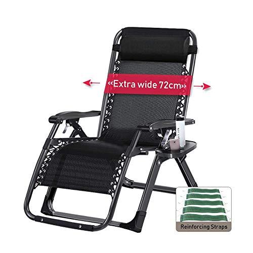 GCZZYMX sillas de gravedad cero de gran tamaño silla de gravedad cero para personas pesadas, tumbona reclinable para patio extra ancha para tomar el sol en la playa, soporte 400 libras, negro