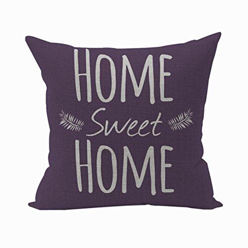 Nunubee Kissenbezug #home sweet home# Baumwolle Leinen Platz Dekokissen Fall Dekorative Wohnzimmer Kissen deko kissen deko wohnzimmer Autodekoration, Lila Alphabet 45x45cm