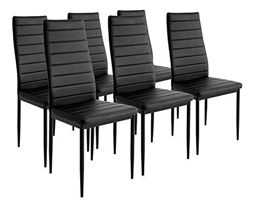 Essgruppe Tischgruppe Esstisch Stuhl Set Tischgruppe Esstischgruppe Sitzgruppe Esszimmergarnitur Glas Metall Esstisch (Schwarz, 6 Stühle)