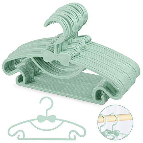 Zaloife Kinder Kleiderbügel Kunststoff Kinderkleiderbügel Baby Hangers Babykleiderbügel Set, rutschfeste Kleiderbügel Hosensteg für Babys und Kleinkinder, 20 Stück, Blau