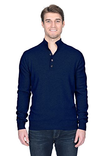 State Fusio Men's Button Down Mock Neck Sweater Cashmere Merino Wool Polo High Neck Pullover (Medium, Navy)