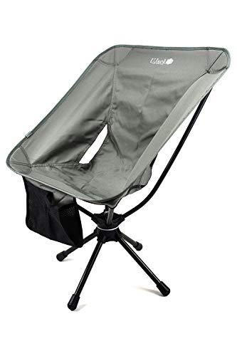 UJack(ユージャック) スピンチェア 360度回転 収納ケース付き アウトドアチェア キャンプ椅子 折りたたみ コンパクト 超軽量 イス 耐荷重150kg (グレー)