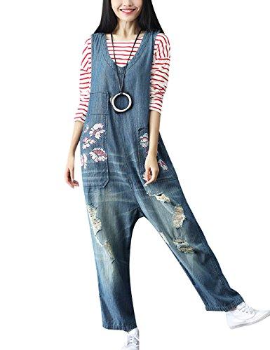 Youlee Damen Sommer Breites Bein Hose Denim Latzhose Overall Hosen Style 3