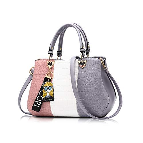 NICOLE & DORIS Damen Handtasche Umhängetasche Henkeltasche Kuriertasche Elegant Damen Handtaschen mit Kaninchen Pelz Kugel Plüsch Schlüsselring Grau 2