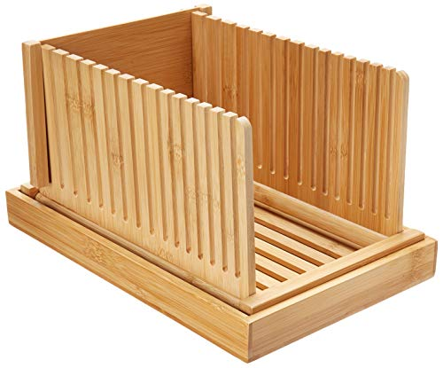 Swacole Bamboo Bread Slicer Guide with Crumb Tray