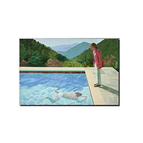 David Hockney Poster Piscina con Dos Figuras Lienzo ImpresióN Pintura Realismo Pared Arte Moderno Arte Salon HabitacióN Decoracion Pared Cuadro 40x65cm No Marco