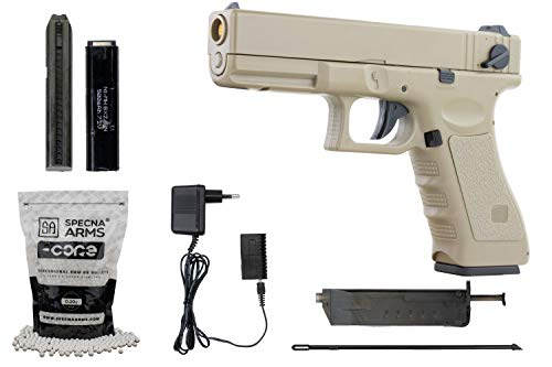 Softair G18 Pistole CYMA CM030 AEP Airsoft Set + 5000 hochwertige Softairkugeln inkl. Akku & Ladegerät Vollautomatisch & Semi Kaliber 6mm BB<0,5J Desert