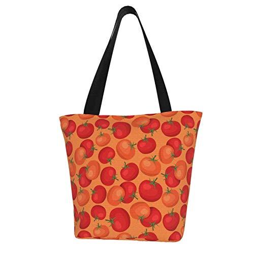 Bolso de lona para mujer, estilo casual, para la compra, con tomates maduros.