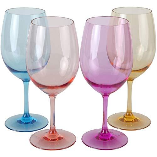 Lily's Home Vasos de vino de acrílico irrompibles, hechos de plástico Tritan irrompible e ideales para uso en interiores y exteriores, reutilizables, colores mixtos (20 oz/590 ml cada uno, juego de 4)
