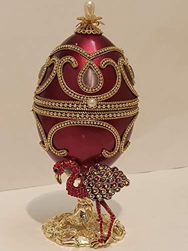 Caja de regalo de cumpleaños para adolescente de avestruz para novia, caja de joyería de música para hija, caja de joyería de música de Faberge a mano con diseño de huevo