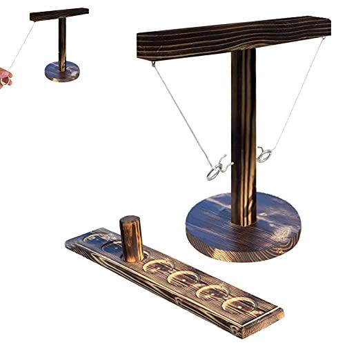 Tik Tok - Ganchos de madera hechos a mano con el mismo estilo, juegos de mano de base redonda con escalera, juego de mesa para adultos y niños, juego de fiesta divertido