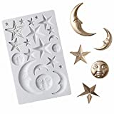 Sun, Moon & Stars Cake Fondant Molds, Sun Face Crescent Moon Silicone Sugar Craft Gum Paste Chocolate Candy Mold Polymer Clay Resin Epoxy Mold Twinkle Twinkle Little Star Cupcake Decorations
