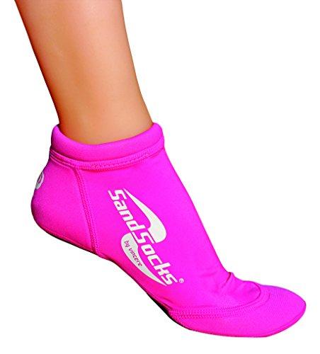 Sand-Socks Sprites Kids by Vincere – Schützende kurze Strand-Socken Kinder – Für Strand & Wasser – Beachvolleyball / Fußball Socken Kinder ohne Wund-Reibung – Neoprensocken – Pink I 34-35,5
