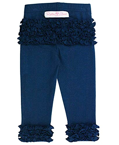 RuffleButts Baby/Toddler Girls Navy Everyday Ruffle Leggings - 12-24m