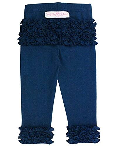 RuffleButts Girls Navy Everyday Ruffle Leggings - 6-12m