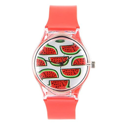 Montre Pas chère pasteque Fruit Bracelet Plastique Rouge