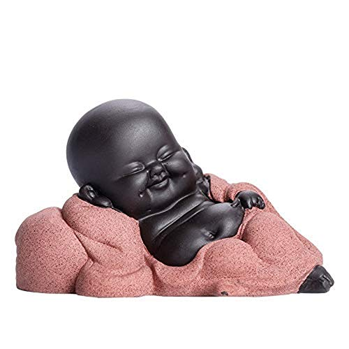 MZL Keramik Nette Sleeping Buddha Statue, 2.4 '' Monk Figurine Baby-Crafts-Puppen chinesische Keramik-Tee-Zubehör