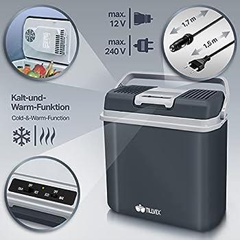 tillvex Glacière électrique 24L | Mini-frigidaire 230 V et 12 V pour camping avec voiture | refroidit et réchauffe |Mode ÉCO (Gris)