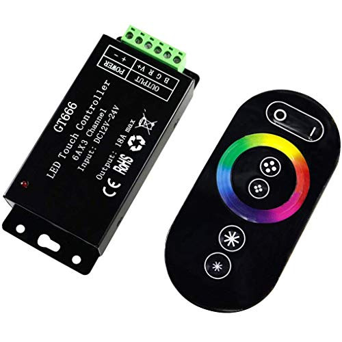 ZYElroy Controlador RGB Touch DC12V-24V 6Ax3channel 18A RF Wireless GT666 Touch RGB Controller Dimmer LED