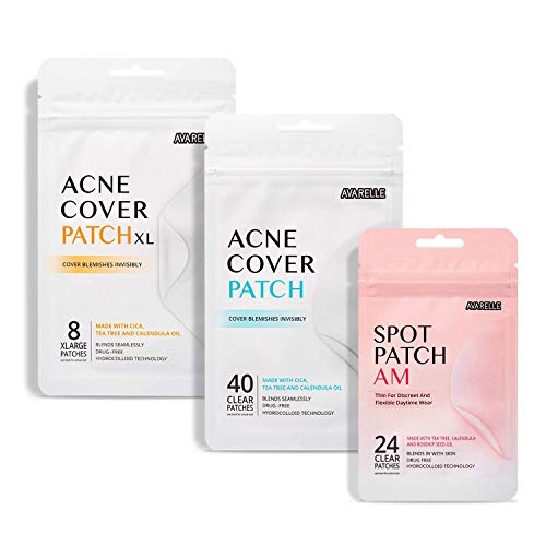 Avarelle Acne Absorbing Cover Patch Hydrocolloid, Tea Tree, Calendula Oil, CICA ( Original + XL+ AM Patch Bundle)