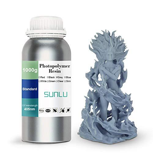 SUNLU 3D Printer Rapid Resin LCD UV-Curing Resin 405nm Standard Photopolymer Resin for LCD 3D Printing 500 gram, Grey