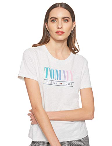Tommy Hilfiger Summer Multicolor Tommy tee Camiseta, Gris (Pale Grey Heather 090), Small para Mujer