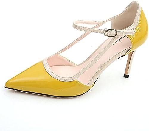 YMFIE Tacones Altos de Aguja de Color Estilete de Cuero de Las mujeres Tacones Altos Elegante Solo zapatos