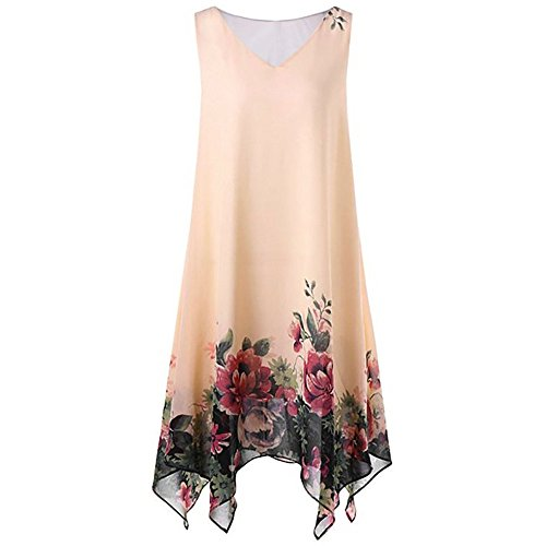 Tosonse Vestidos De Chaleco con Estampado Floral para Mujer Mini Vestido De Dobladillo Irregular Sin Mangas De Gasa De Talla Grande
