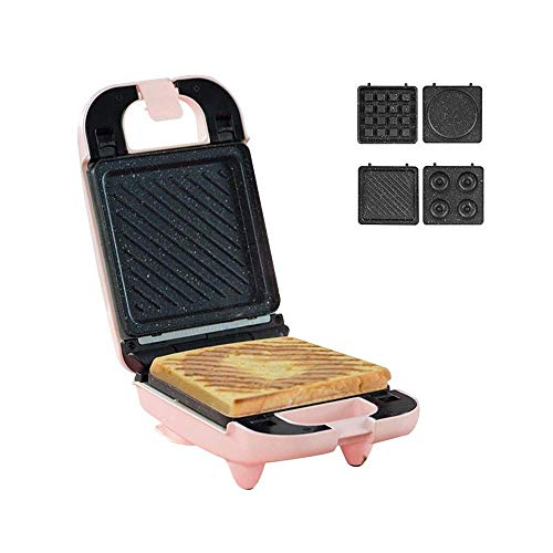 Utensilios para exterioresTostadora Mini Sandwichera Plancha eléctrica cuadrada con luz indicadora Revestimiento...