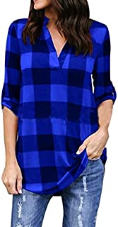 BEESCLOVER Plus Size 5XL 2018 New Spring Autumn Women Plaid Casual Loose Long Shirts Female Vintage Long Sleeve V Neck Blouse Tops