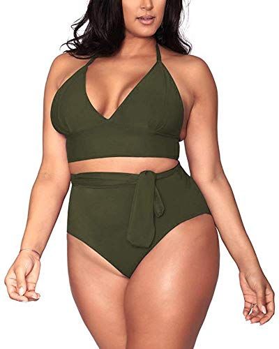 Sovoyontee Women's Army Green 2 Piece Plus Size High Waisted Tummy Control Swimwear Swimsuit 4XL 20