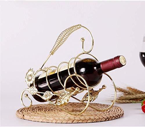 COLiJOL Soporte para Botellas Estante para Vino Estante para Vino Hecho a Mano de Hierro Portátil/Estante para Copas de Vino/Adornos/Decoraciones/Almacenamiento de Regalos,B