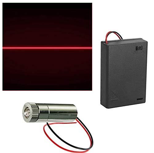 CTRICALVER 1 pcs 650nm Módulo de Línea Rojo Láser Enfoque Ajustable con Lente de Plástico 3-6V+ 1pcs AA Soportes de Batería (Forma de la fuente de luz: línea)