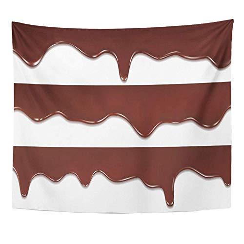 Goteo marrón Chocolate derretido que gotea en blanco Barra de fusión negra Amarga Decoración para el hogar Tapiz Colgante de pared para sala de estar 150x100cm