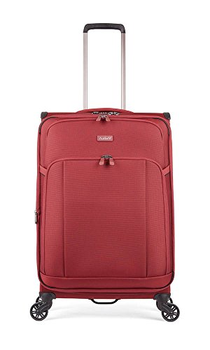 Antler Atmosphere, Durable & Expandable Lightweight Soft Shell Suitcase - Colour: Dark Red, Size: Medium
