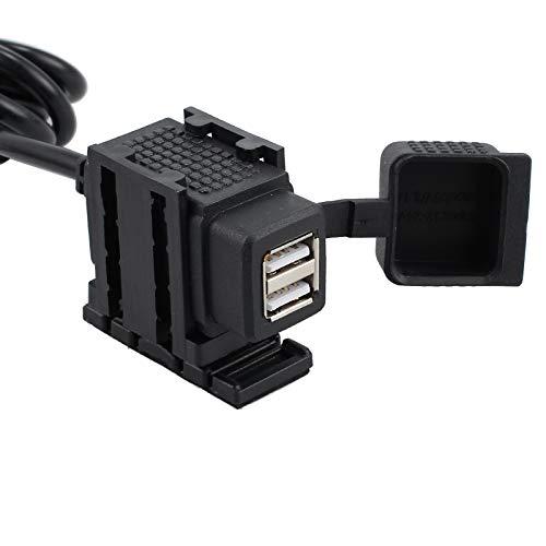 eSynic Universal USB Doppelt Steckdose Stromversorgung Port 2.1A 12V/ 24V KFZ USB Power Supply Port Ladegerät Buchse Wasserdicht und Staubdicht für 12V~24V KFZ Motorrad Fahrrad - Schwarz